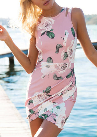 Floral Dress Spring - Pink Sleeveless Floral Print Bodycon Dress