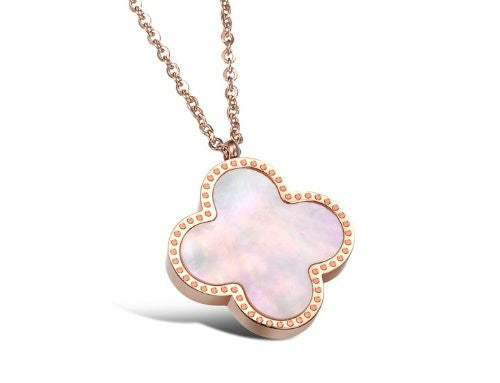Rose Gold Plated Stainless Steel Shell Pendant - Crystalline
