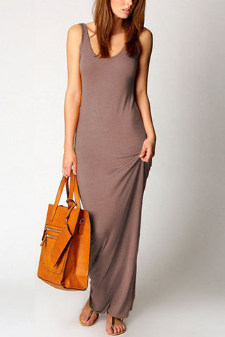 Apricot Sleeveless Scoop Neck Maxi Dress