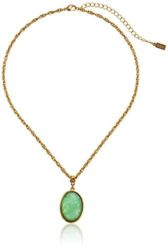 "Gold & Green ""Semi-Precious Collection"" 14k Gold Dipped Oval Pendant Necklace - Crystalline"