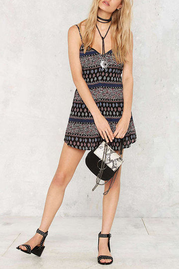 Multicolor V-Neck Spaghetti Strap Mini Dress