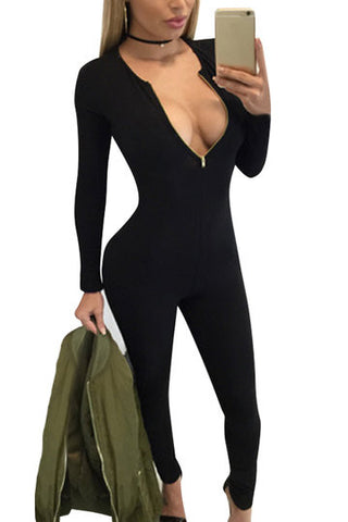 Black Front Zipper Long Sleeve Bodycon Jumpsuit