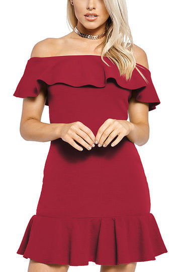 Burgundy Off Shoulder Layered Ruffle Hem Mini Dress