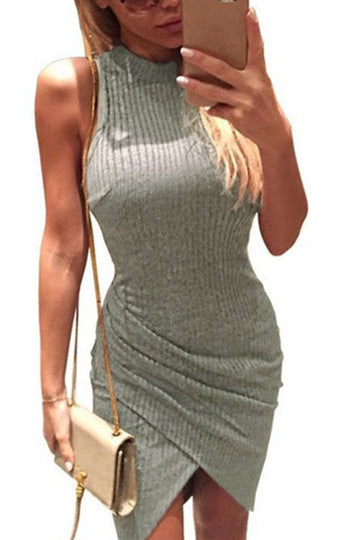 Grey Ribbed Cross Front Bodycon Irregular Dress