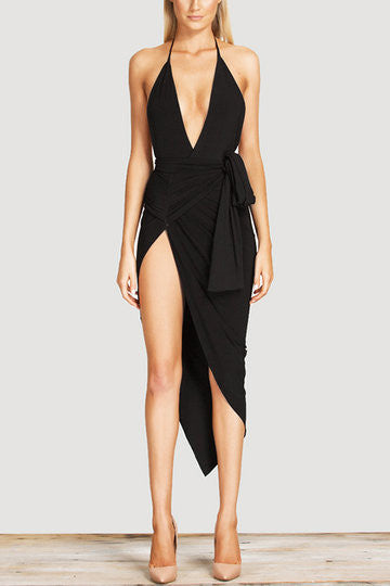 Black Deep Plunge Neckline Halter Self-Tie Open Back Irregular Hem Dress