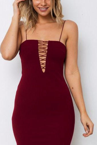Burgundy Lace-Up Front Bodycon Mini Dress
