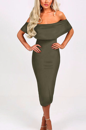 Army Green Layered Off Shoulder Midi Dress