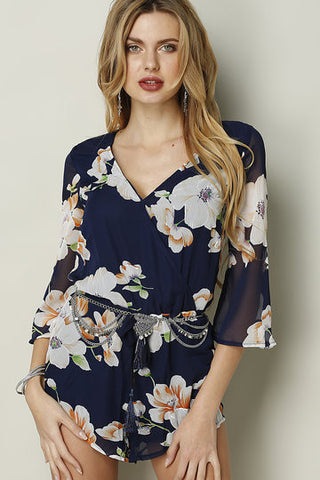 Blue Floral Print Bell Sleeve Playsuit
