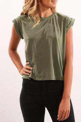 Army Green Round Neck Cuffed Sleeve Shirt