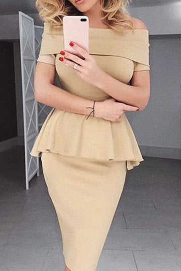 Beige Short Sleeve Off Shoulder Peplum Midi Dress