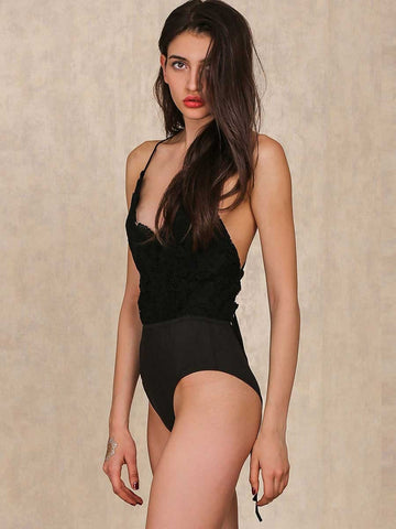 Black Lace Spaghetti Strap Criss Cross Bodysuit