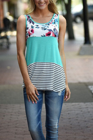 Green Round Neck Floral Stripe Contrast Sleeveless Top