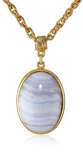 "Gold & Blue ""Semi-Precious Collection"" 14k Gold Dipped Oval Pendant Necklace - Crystalline"