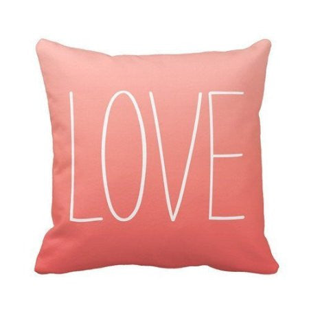 Coral Pink Ombr¨¦ Love Pillow Personalized 18x18 Inch Square Cotton Throw Pillow Case Decor Cushion Covers - Crystalline