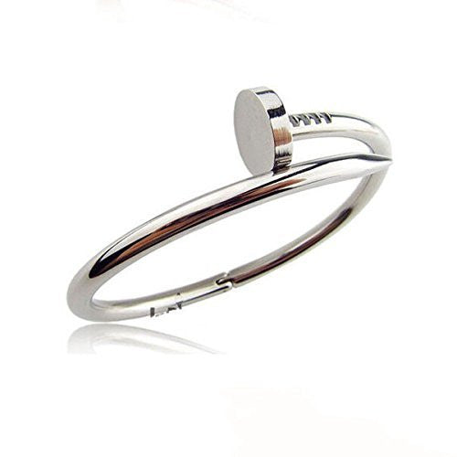 Silver Nail Bangle Bracelet - Crystalline
