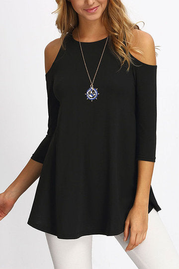 Black Round Neck 3/4 Sleeve Cold Shoulder A-Cut Top