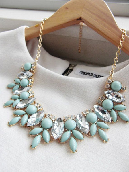 Mint Statement Fashion Necklace Turquoise - Crystalline