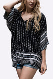 Black Geometrical Print Tassel Tie Flare Sleeve Top