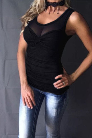 Black Scoop Neck Mesh Insert Ruched Front Top