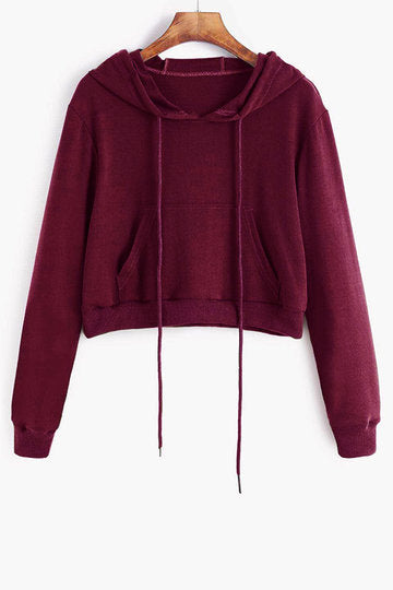 Burgundy Basic Front Pocket Long Sleeve Hoodie Top