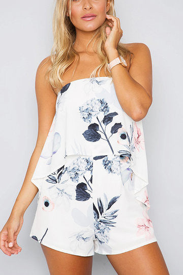 1d951bf92d5c White Floral Print Tube Layered Playsuit – Crystalline