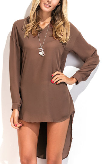 Brown V-Neck Long Sleeve High Low Curved Hem Dress
