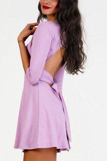 Purple Scoop Neck Half Sleeve Open Back Tie Mini Dress