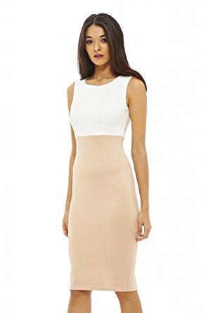 Nude Boat Neckline Contrast Bodycon Dress