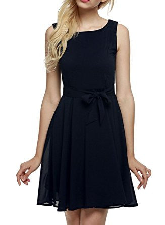 Navy Sleeveless Self-Tie Chiffon Pleated Dress