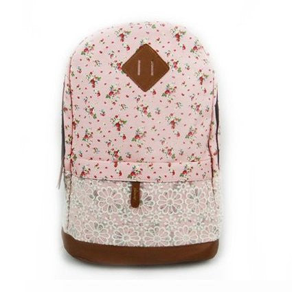 Pink Floral Pattern With Lace Design Backpack School - Crystalline