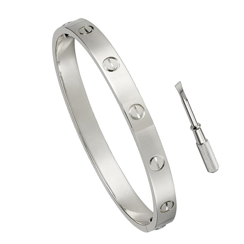Stainless Steel Designer Inspired Screw Head Oval Bangle Bracelet (6.5in or 7.5in) - Crystalline