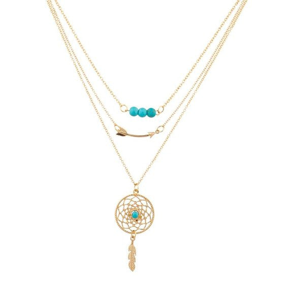 Lux Accessories Gypsy Boho Dreamcatcher Leaf Arrow Beaded Bff Best Friends Forever Necklace Set (3 Pc) - Crystalline