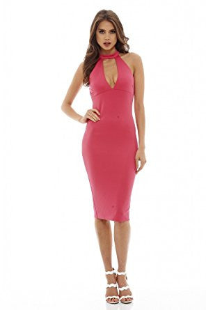 Cerise Racer Back Cut Out Neck Midi Dress