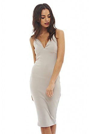 Grey Deep V-Neck Crisscross Back Midi Dress