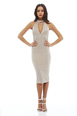 Grey Racer Back Cut Out Neck Midi Dress