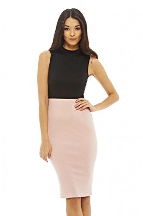 Pink Boat Neckline Contrast Bodycon Dress