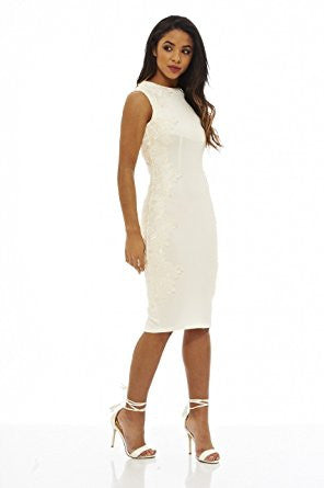 Cream Sleeveless Crochet Side Lace Midi Dress