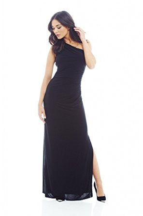 Black One Shoulder Leg Split Maxi Dress