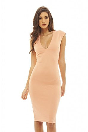 Peach Deep V-Neck Zip Back Bodycon Dress