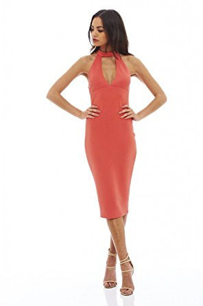 Coral Racer Back Cut Out Neck Midi Dress