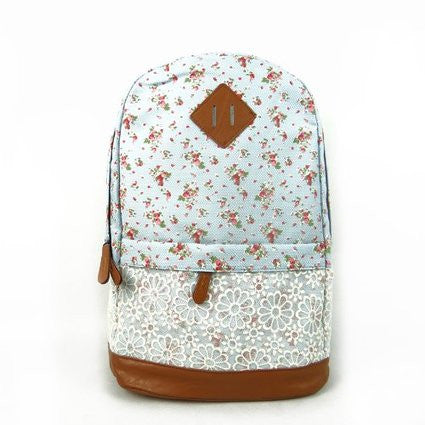 Floral Pattern With Lace Design Backpack School - Crystalline