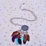 Native American Dream Catcher Colorful Feather Pendant Long Silver Tone Chain Necklace for Women - Crystalline