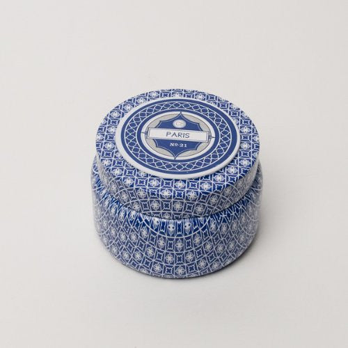 Capri Blue Printed Travel Tin - Paris Fragrance Anthropologie Candle - Crystalline