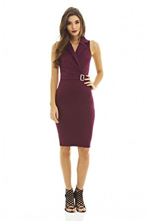 Plum Sleeveless Peak Collar Buckle Waistline Midi Dress