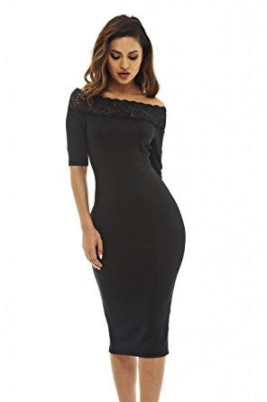 Black Off Shoulder Lace Trim 3/4 Sleeve Midi Dress
