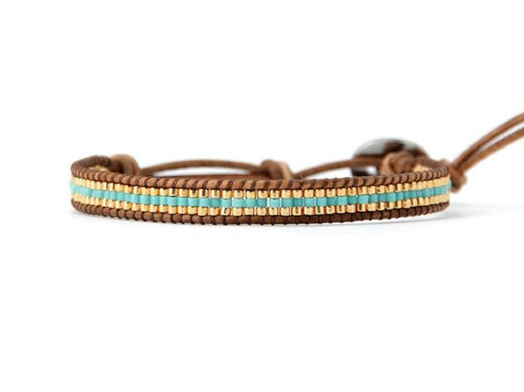 Seed Bead Leather Wrap Bracelet Turquoise and Gold Tone - Crystalline