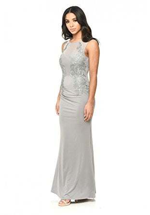 Grey Sleeveless Mesh With Lace Detail Maxi Dress
