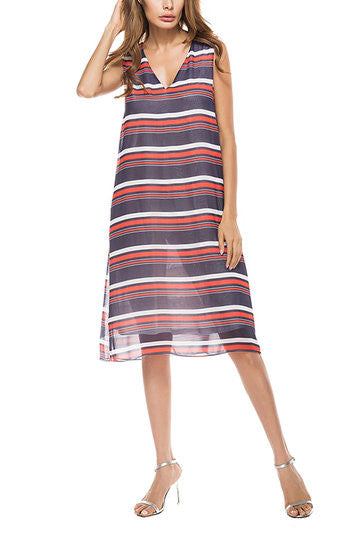 Multicolor Stripe V-Neck Sleeveless Midi Dress