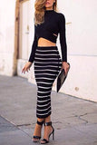 Black Crew Neck Midriff Stripe Suits
