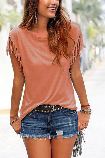 Orange Tassel Trim Scoop Neck Loose Blouse